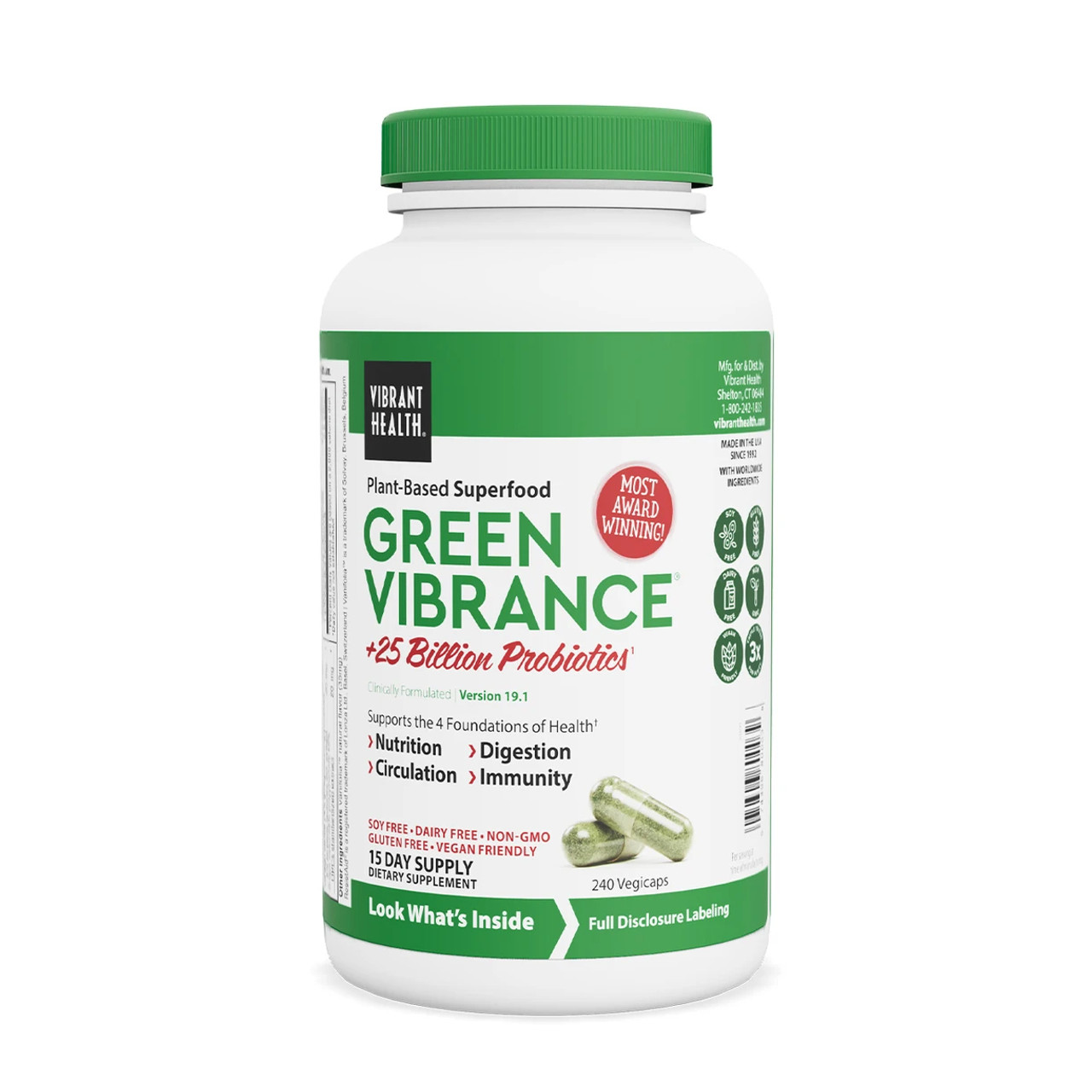 VIBRANT HEALTH® Green Vibrance - 240 vegicaps