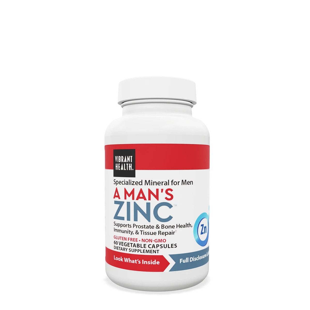VIBRANT HEALTH® A Man's Zinc - 60 Capsules - An ideal supplement for prostate health