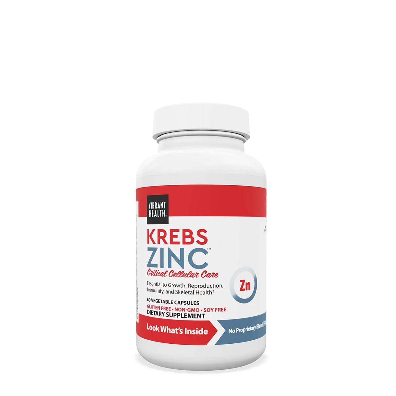 VIBRANT HEALTH® Krebs Zinc - 60 Capsules-Essential Mineral Immune Support