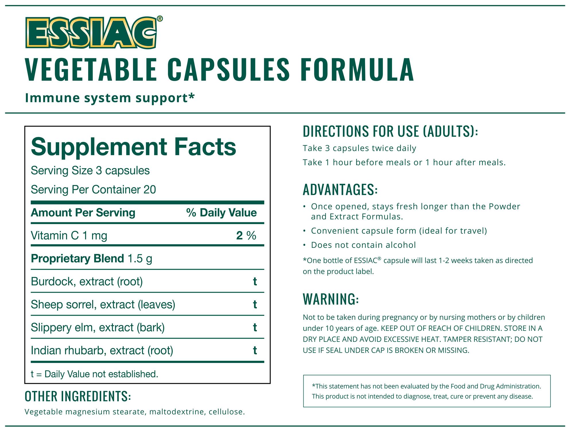 ESSIAC® Capsules Facts Panel-60 capsules-500 mg