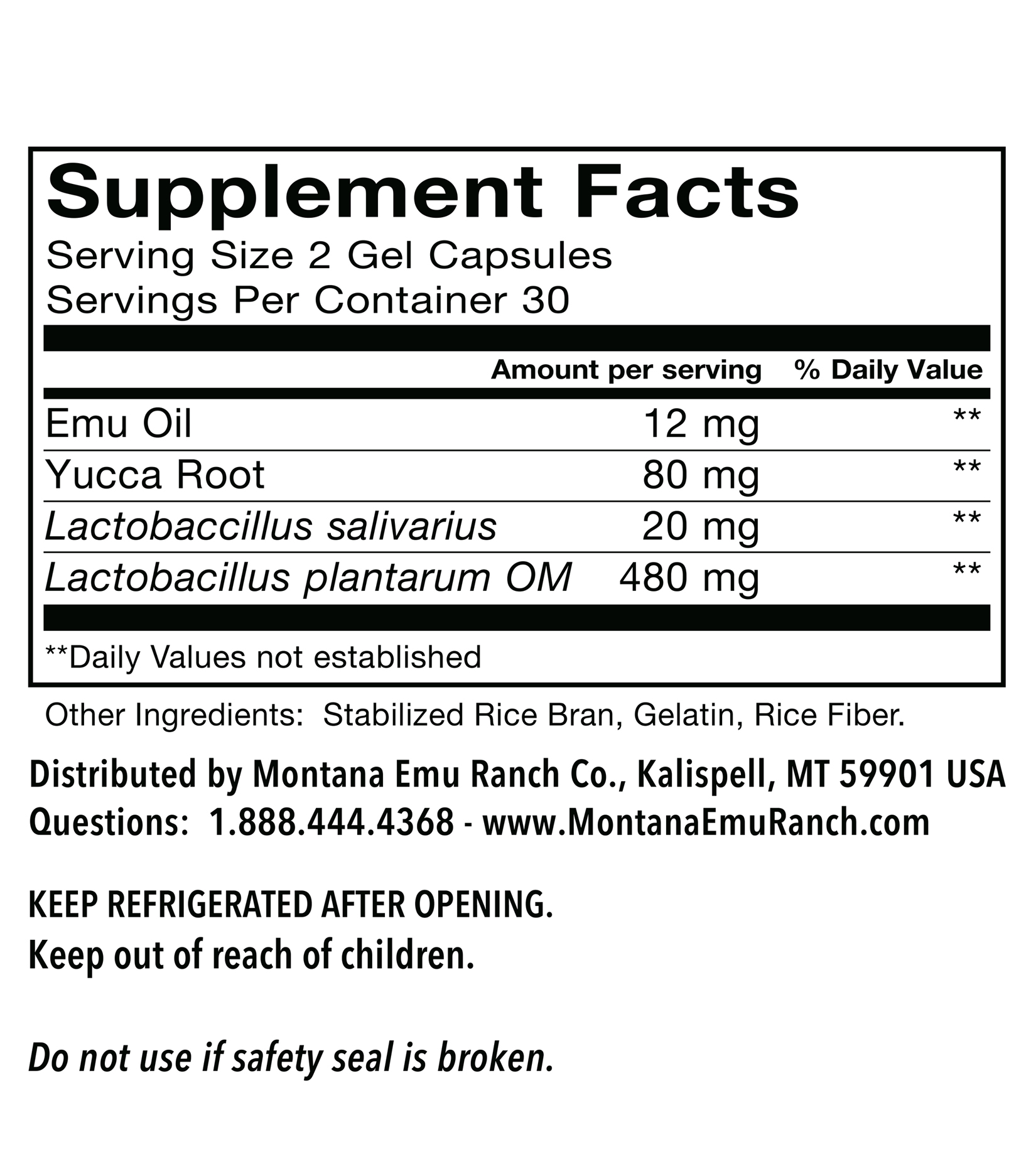 EMUTRIENTS™ pro•biotic by Montana Emu Ranch - 360mg Gel Capsules
