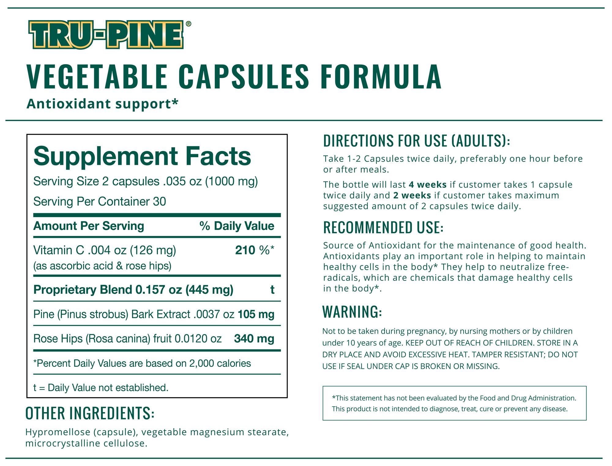 TRU-PINE® Capsules Facts Panel-60 capsules-500 mg