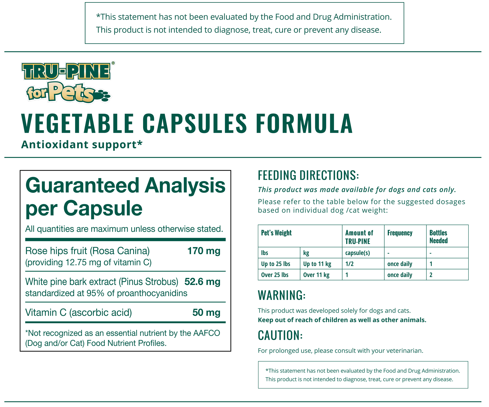TRU-PINE® For Pets Capsules Information Panel-60 capsules-500 mg