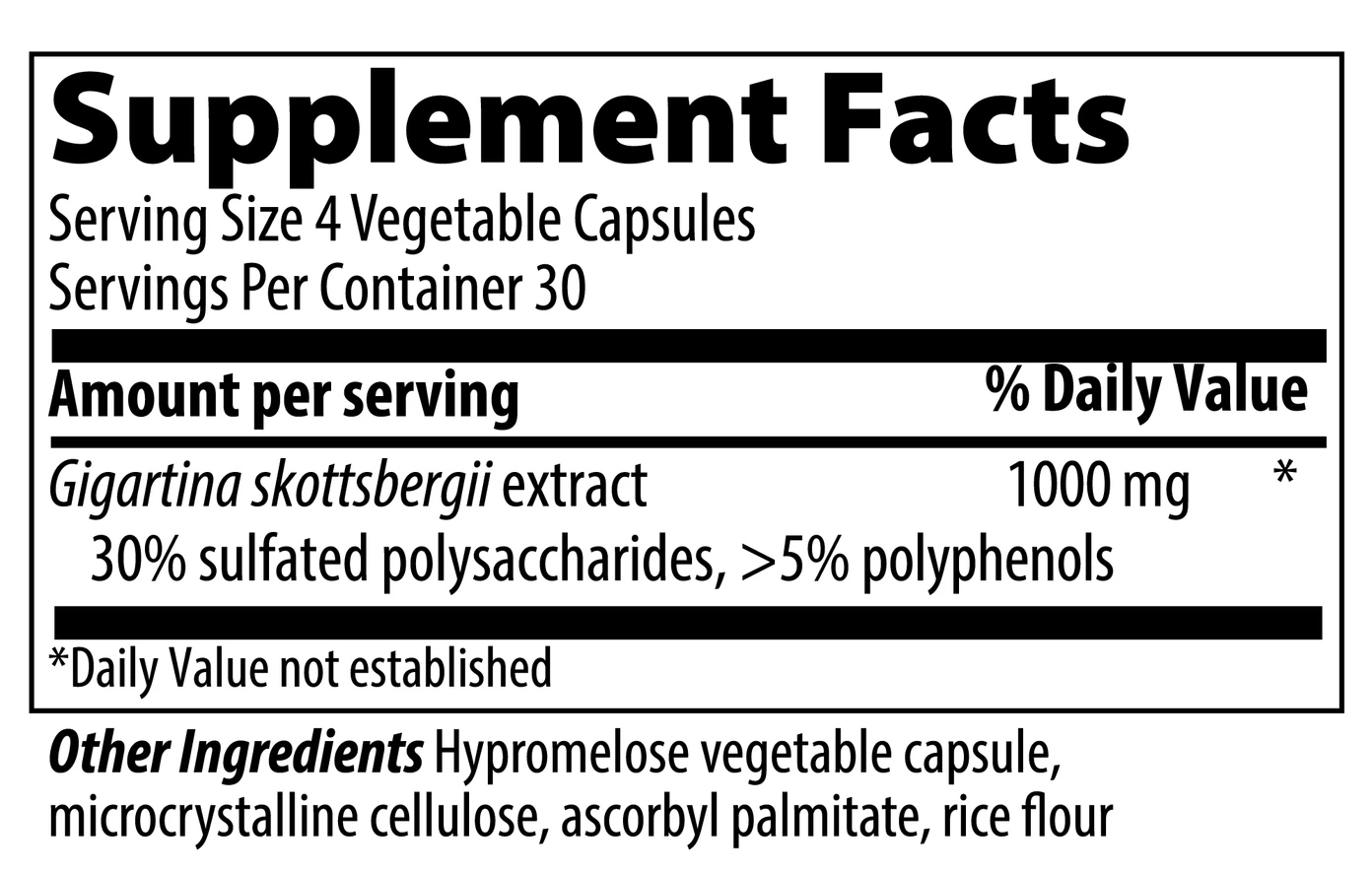 VIBRANT HEALTH Gigartina Red Marine Algae Capsules 120 count