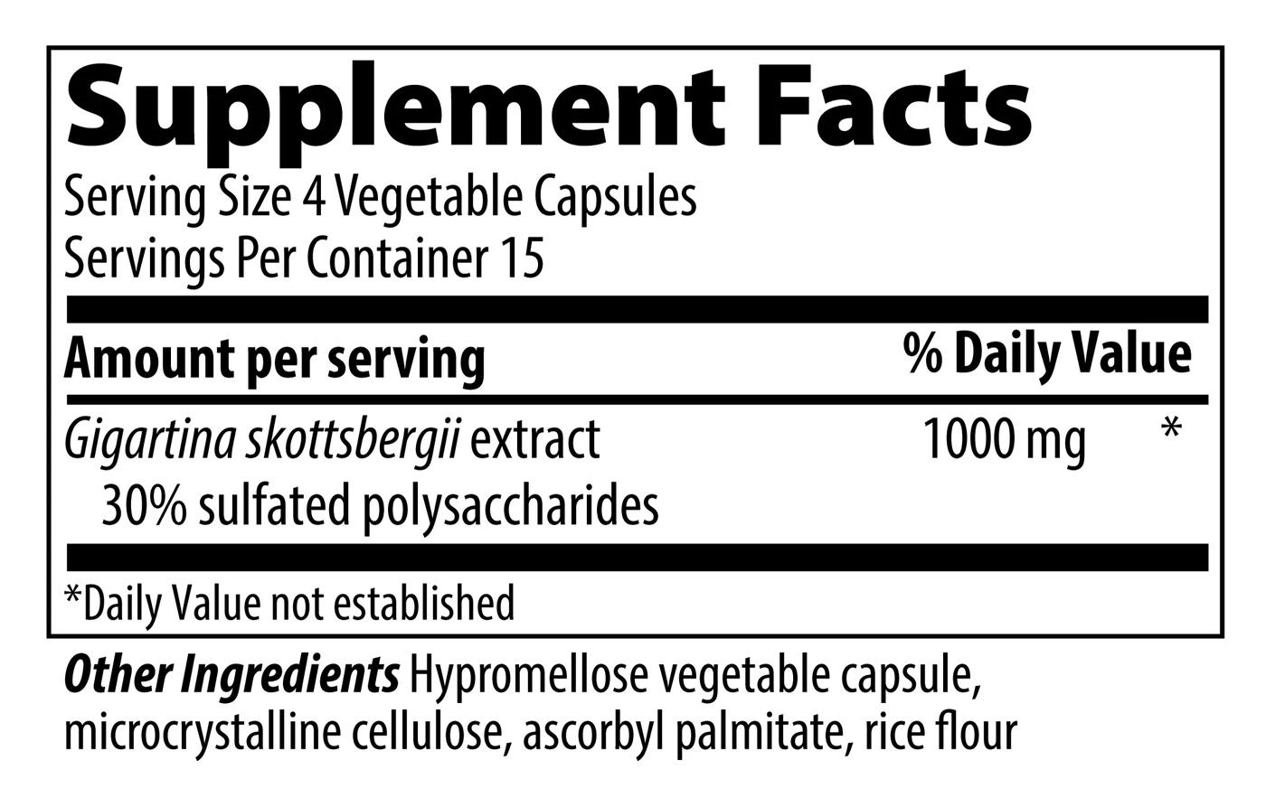VIBRANT HEALTH Gigartina Red Marine Algae Capsules 60 count