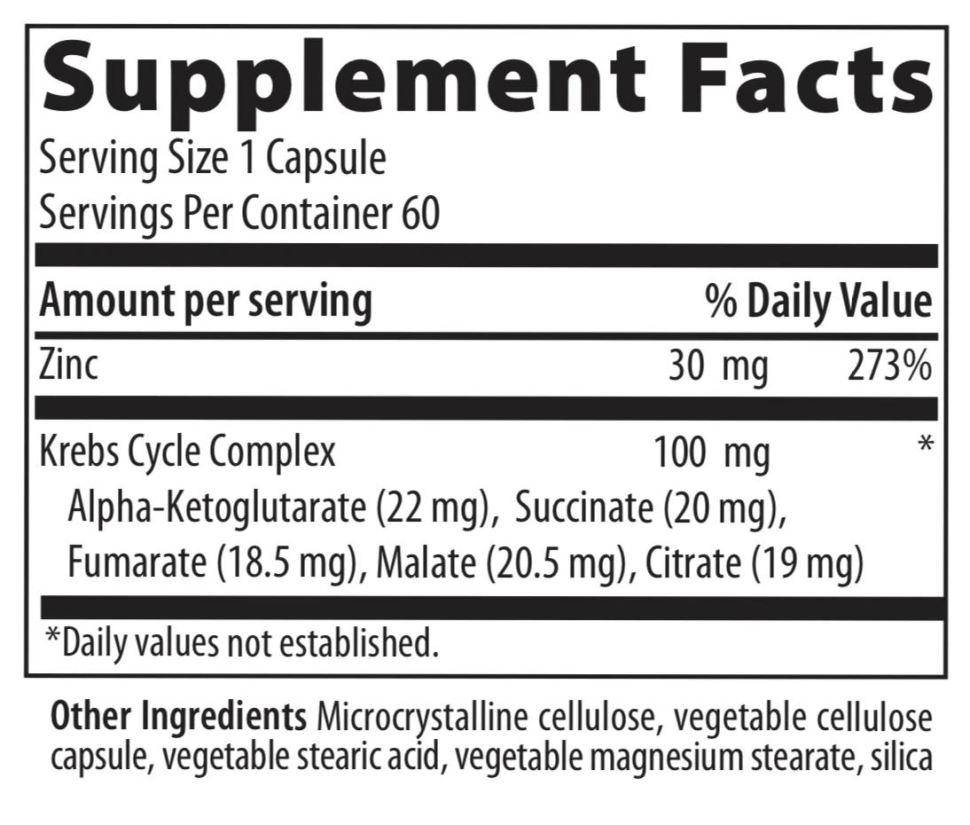VIBRANT HEALTH Krebs Zinc - 60 capsules