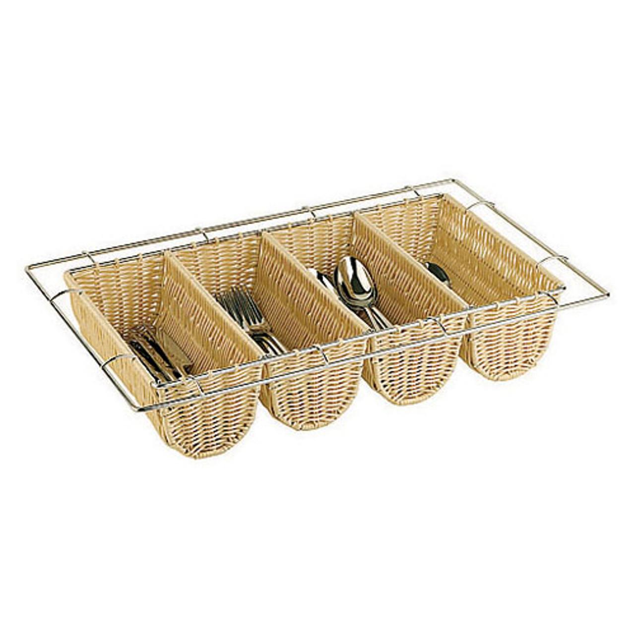 Polyrattan Four Compartment Flatware Basket -  (1/1 ) , L 20.875 x W 12.75 x H 2.5