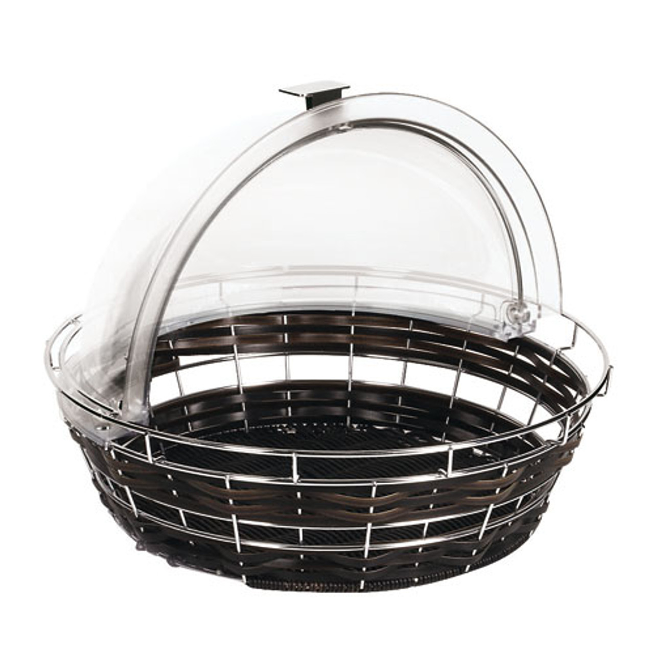 Black Round Polyrattan Bread Basket - cover not included, L 13.875 x W 13.875 x H 7.875