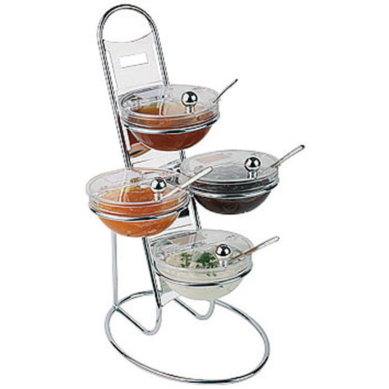 Chromed Three-Tier Buffet Ladder & Medium Bowl Set, L 11.875 x W 11.875 x H 18.875