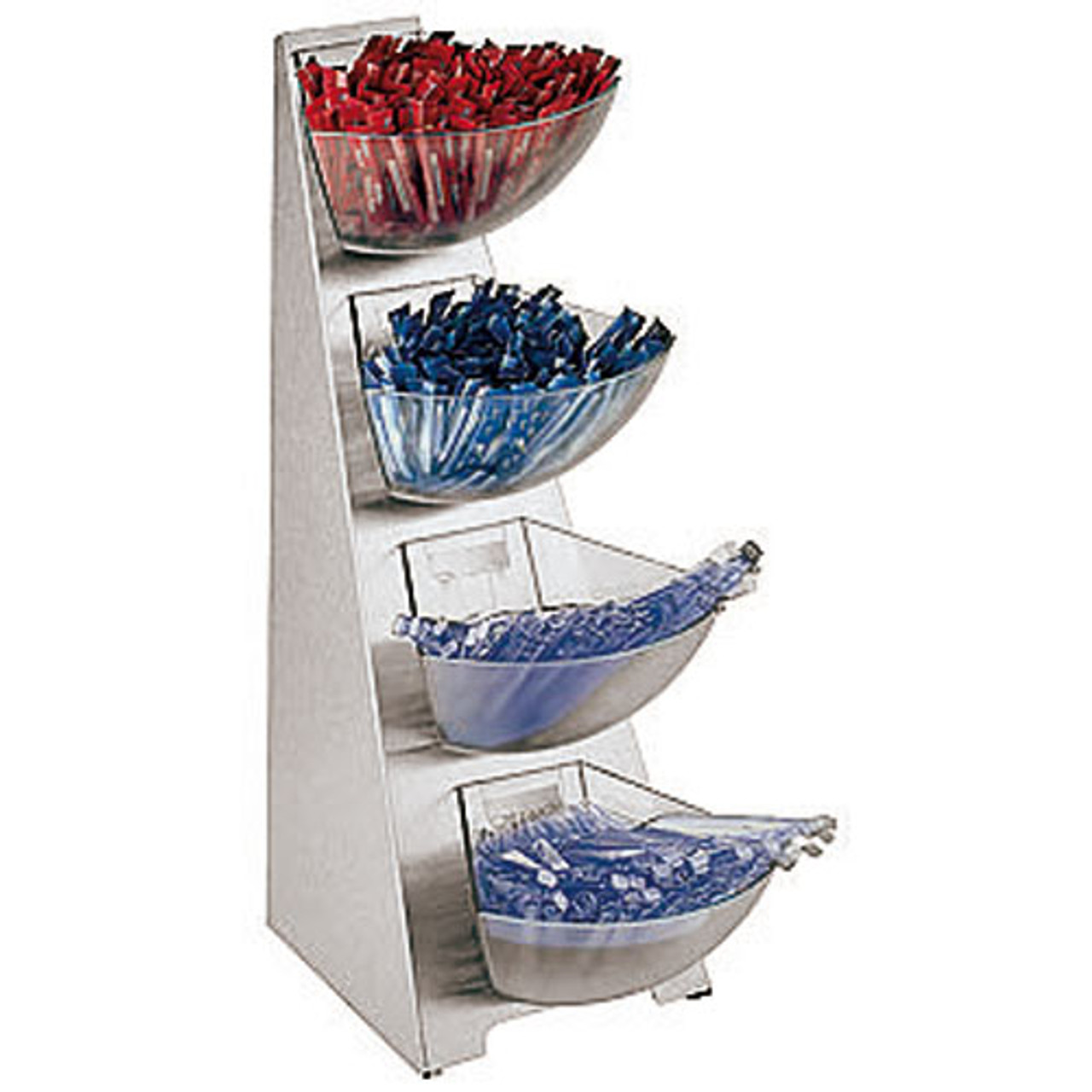 Four-compartment S/S Condiment Tower  Bins, L 9.5 x W 7.5 x H 20.875