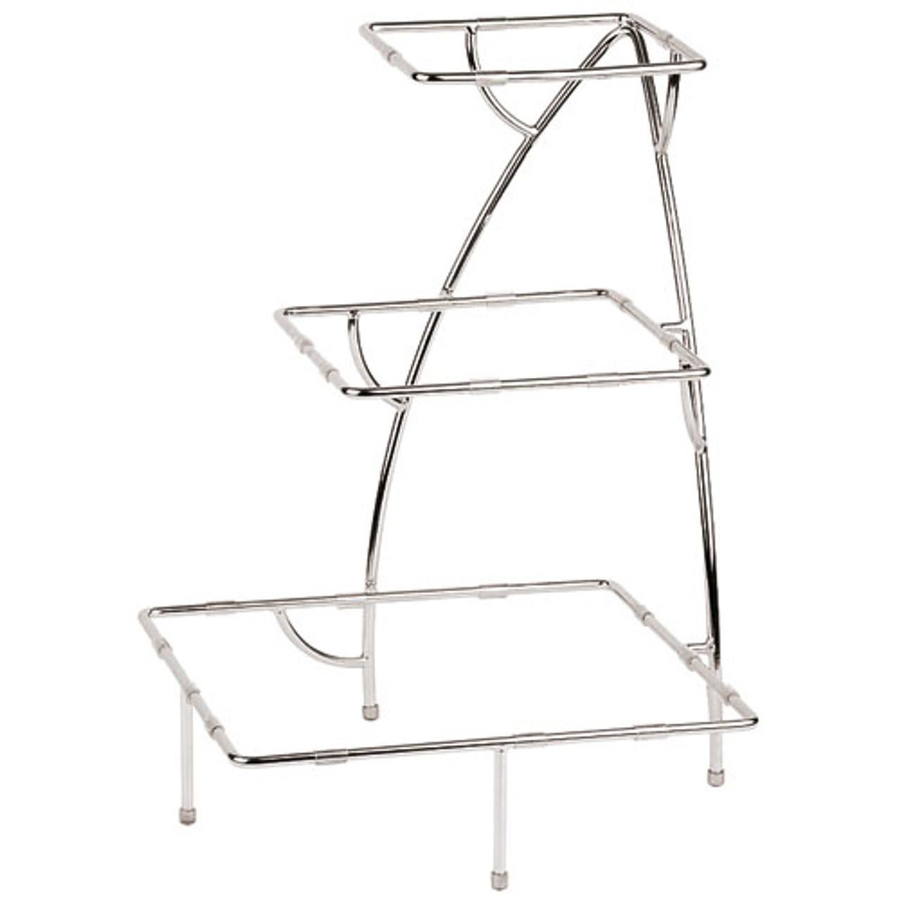 Three-tier Chromed Steel Stand - 14 7/8 x 14 7/8 x 19 5/8, L 14.875 x W 14.875 x H 19.625