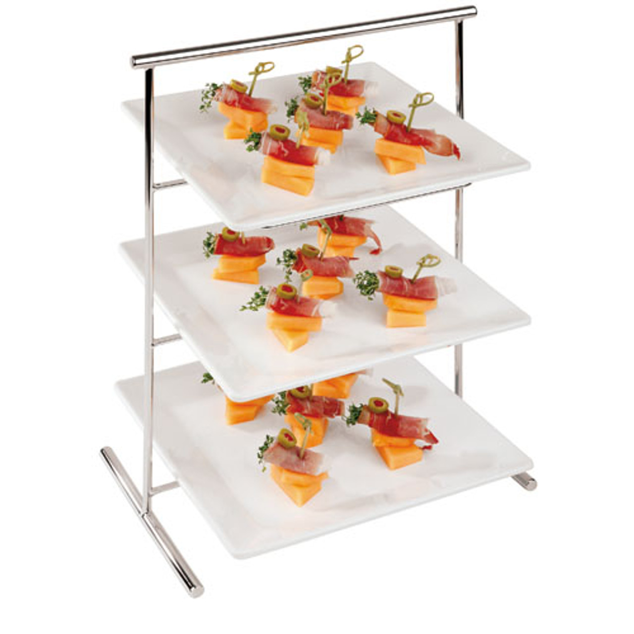 Three-tier Chromed Steel Stand - 13 x 8 1/4, L 13 x W 8.25 x H 17.375