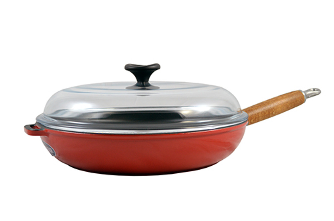 "Red/Black Frying Pan, Wood Hd, DIA 11"" W/ LID"