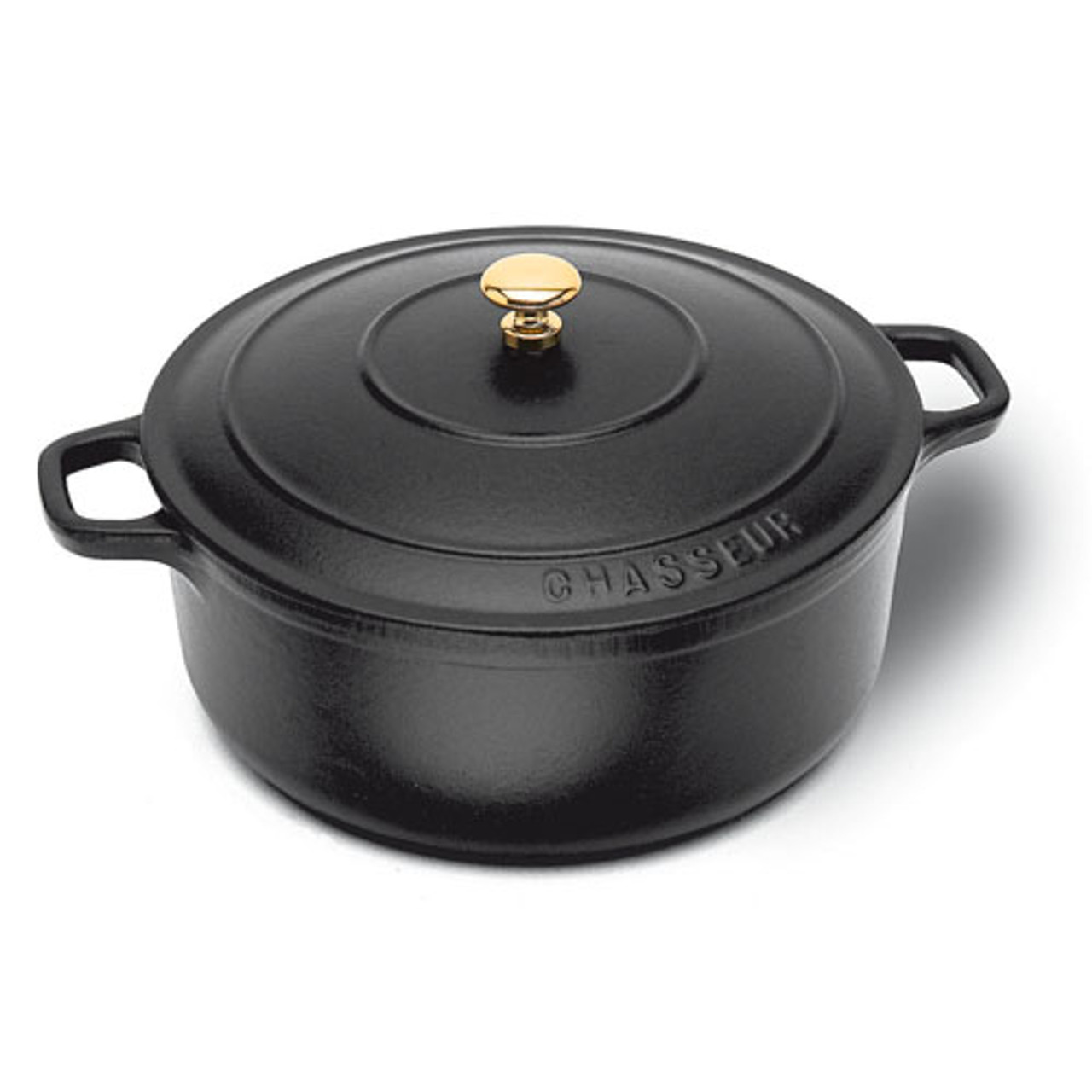 "Black Round Dutch Oven, DIA 7 1/8"" X H 3 1/8"", 2 QTS"