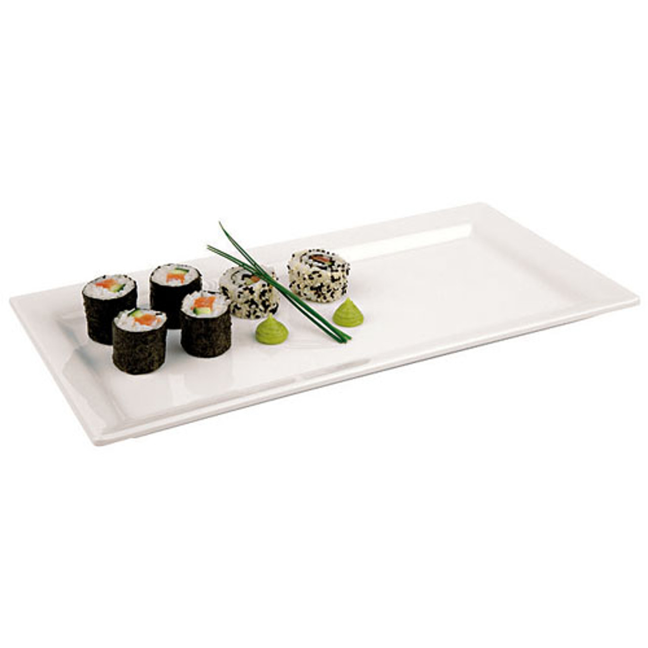 Rectangular White Melamine Sushi Tray - 14 x 7 1/8, L 14 x W 7.125 x H 0.5