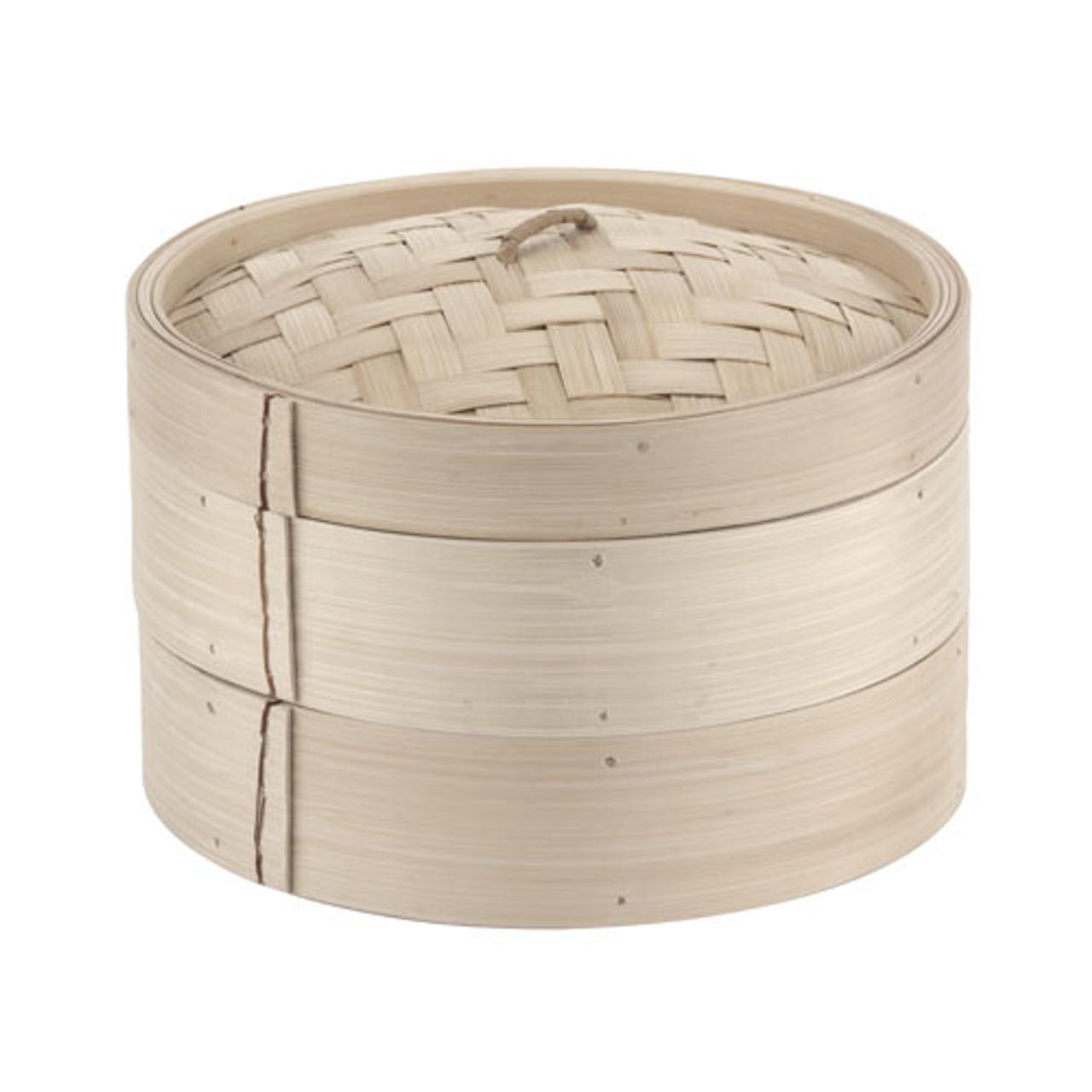 11 7/8 Bamboo Steamer Set (2+1), L 11.875 x W 11.875 x H 6.25