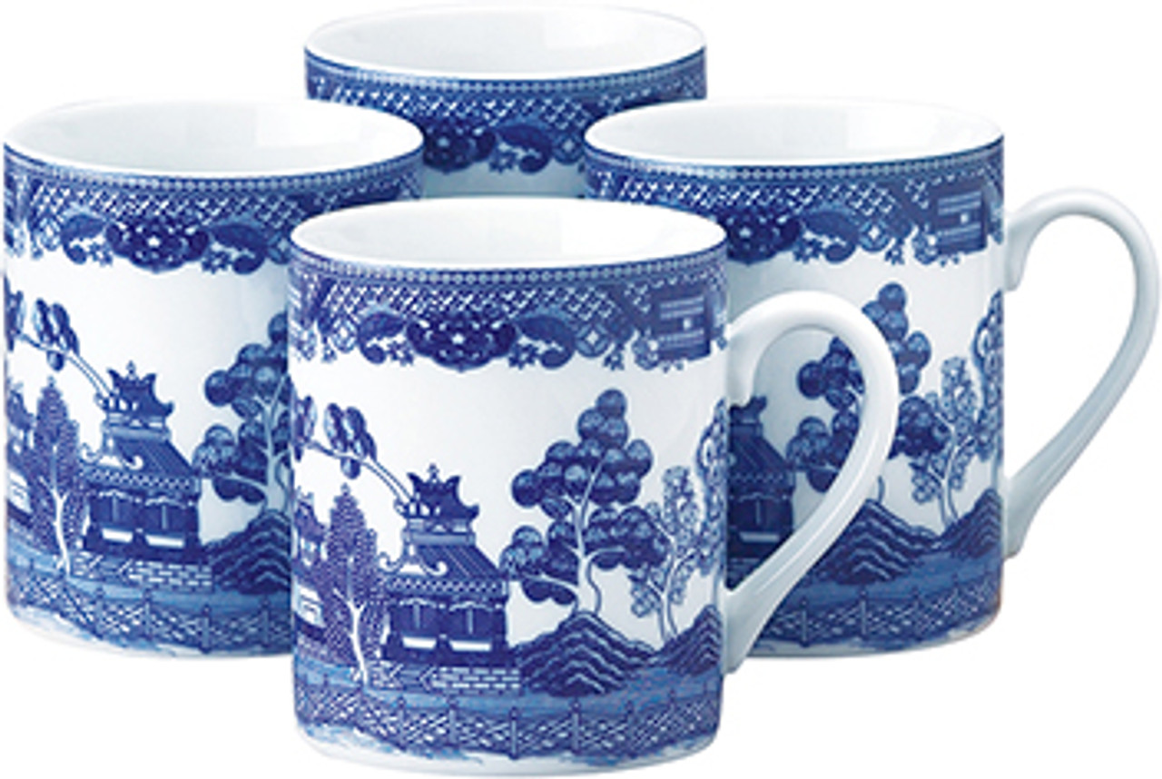 HIC Blue Willow Mug Set of 4, 10oz