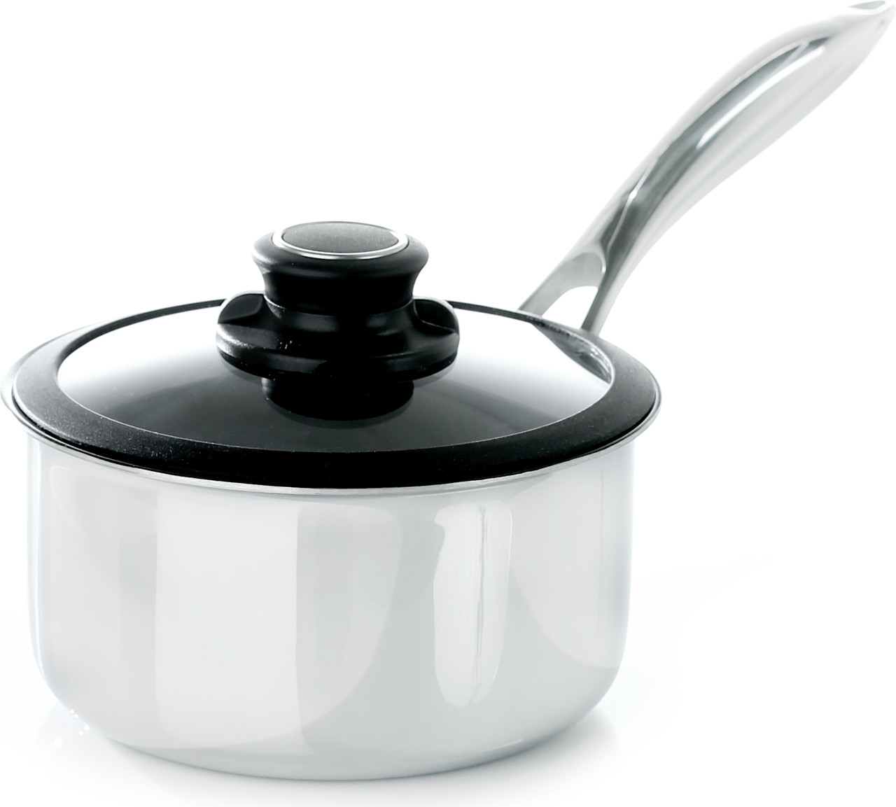 "Black Cube Saucepan w/ Lid, 6 1/2"" dia., 1.5 qt."