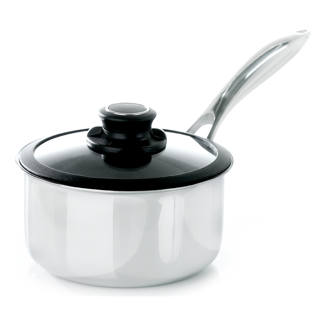 "Black Cube Saucepan w/ Lid, 8"" dia., 2.5 qt."