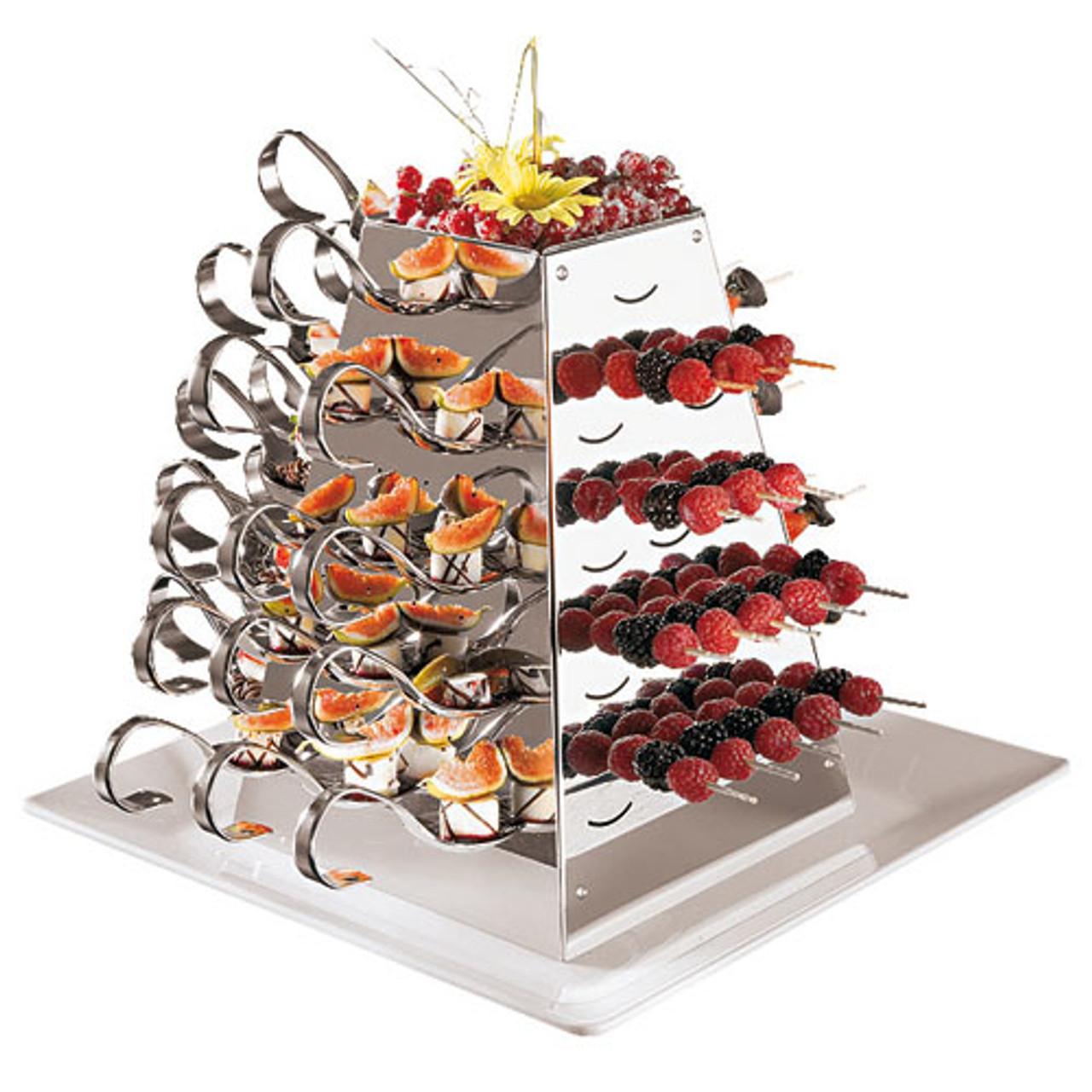 S/S Rotating Buffet Serving Pyramid, L 8.625 x W 8.625 x H 12.125