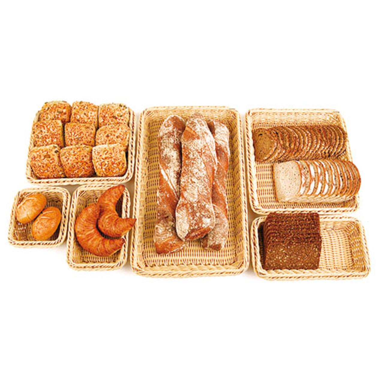 4 High Polyrattan Bread Basket - (2/3 ) , L 12.5 x W 14 x H 4