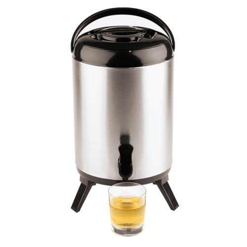 10 Quart Insulated S/S Beverage Dispenser, L 9.5 x W 9.5 x H 16.5