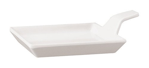 Appetizer Plate with Tab, Melamine, White