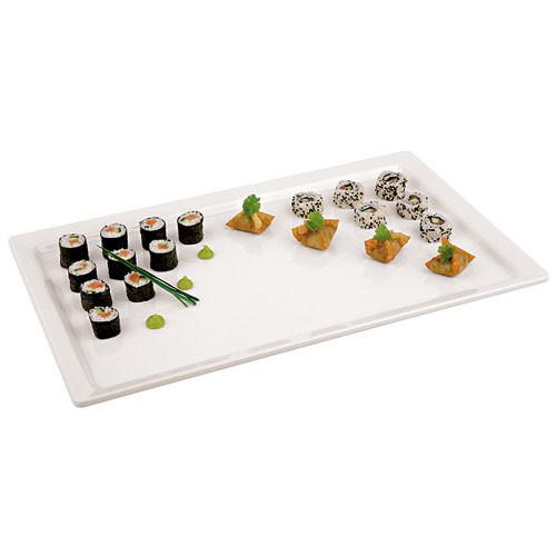 White Melamine Platter - (1/3 ) , L 12.875 x W 6.875 x H 0.5