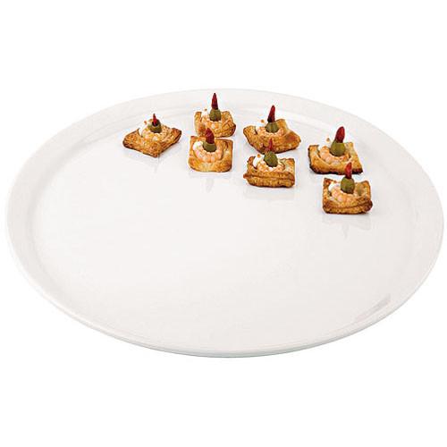 Round White Melamine Platter - 20, L 20 x W 20 x H 0.5