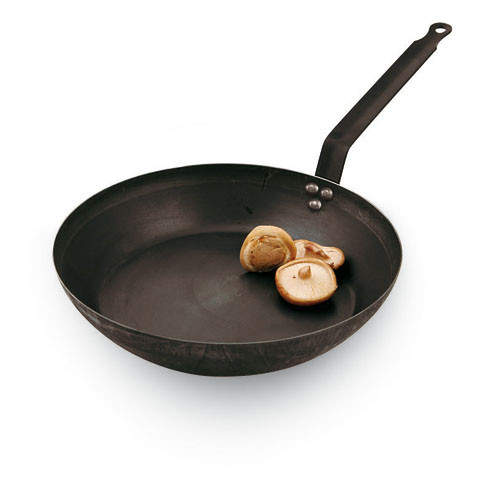 "Black Steel Frying Pan, DIA 5 1/2"" X H 1 1/4"""