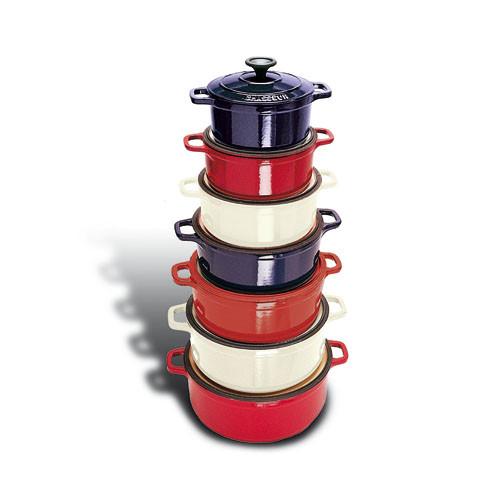 "Red Round Dutch Oven, DIA 9 1/2"" X H 3 3/4"", 4 QTS"