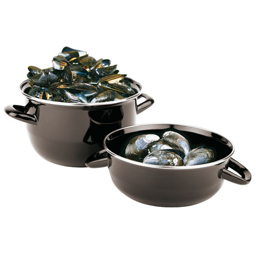 3.3 Pound Capacity Enamel Steel Mussel Pot, L 7.875 x W 7.875 x H 3.25