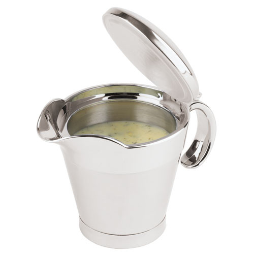 13 1/2 Oz Insulated S/S Gravy Boat with Spout, L 5 x W 5 x H 5.125