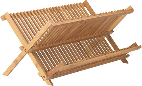 Helen's Asian Kitchen Bamboo Foldable Compact Dish Drying Rack