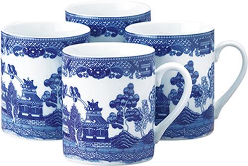 HIC Blue Willow Mug Set of 4, 10oz