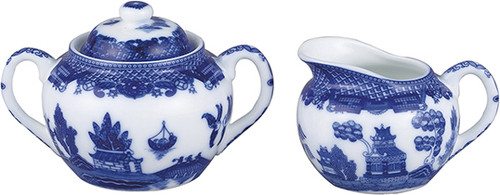 HIC Blue Willow Sugar and Creamer Set