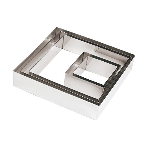 S/S 7 1/8 Square Pastry Ring, L 7.125 x W 7.125 x H 1.875