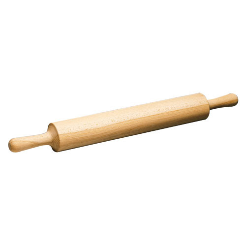 "Wood Rolling Pin, Wood Hdles, L 19 5/8"" X DIA 3 1/2"""