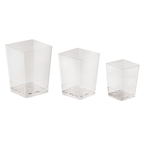 x100 Small Square Disposable Containers - 3.4 oz., L 2 x W 2 x H 2.75