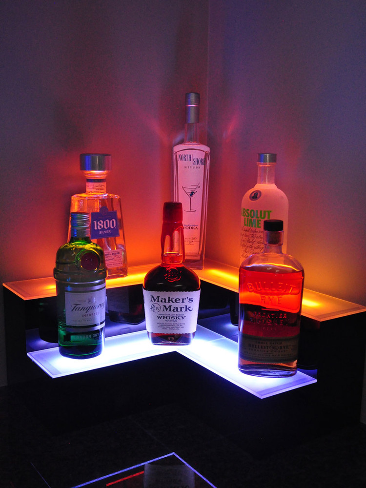 Corner 2 Tier LED Bar Shelf Display