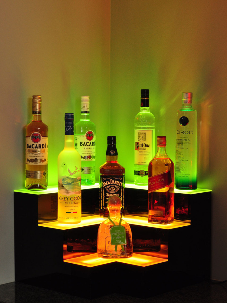 Corner 3 Tier LED Bar Shelf Display