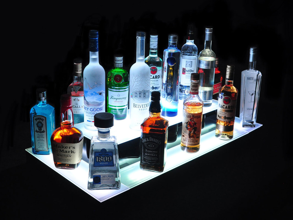 Island 2 Tier Double Wide LED Bar Shelf Display
