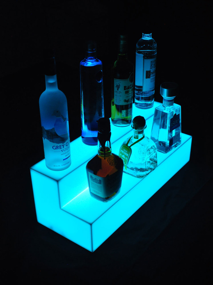 Glow Step 2 Tier LED Bar Shelf Display