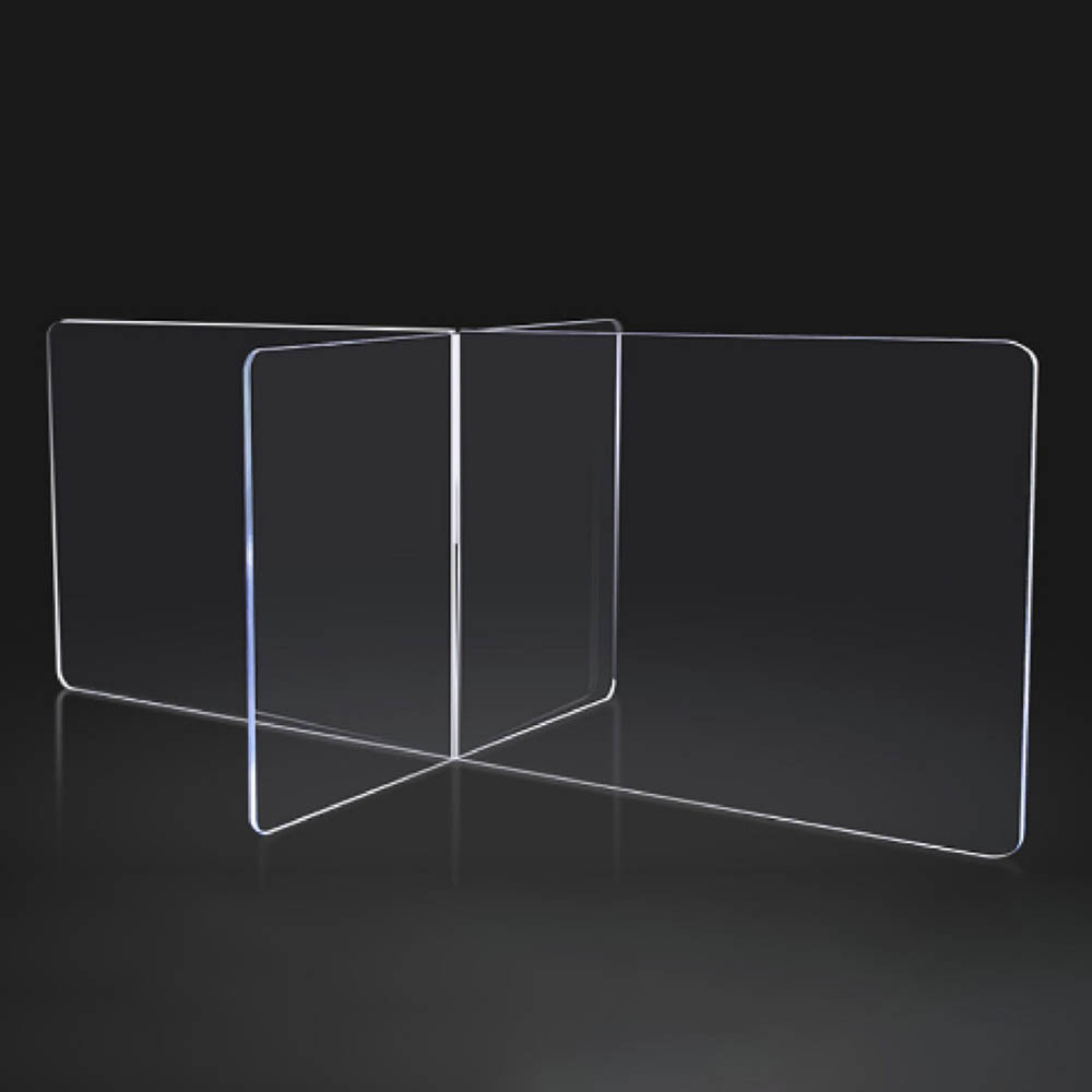 Interlocking Sneeze Guard Panels for Rectangular Desks