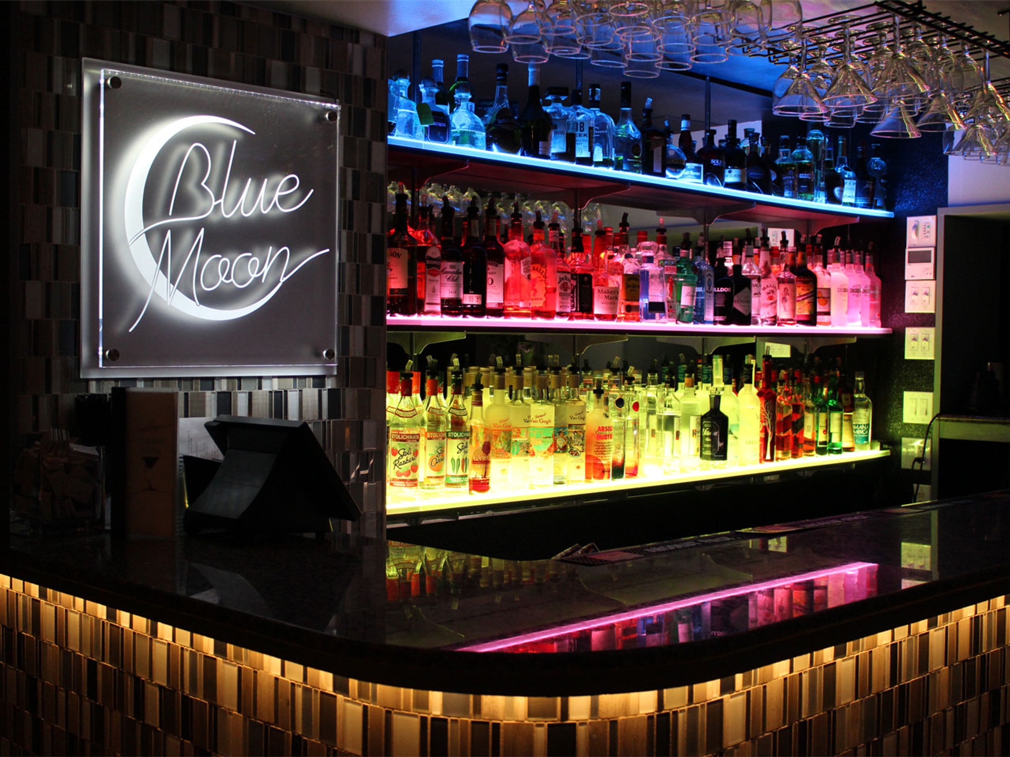 Double Wide Led Floating Bar Shelf Liquorshelves Com
