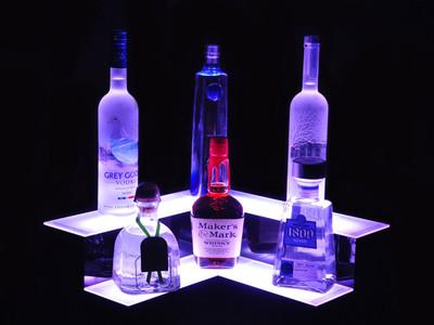 Corner 2 Tier LED Bar Shelf Display