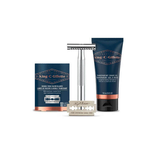Bundle: Double Edge Safety Razor & 10ct Refills & Shave Gel