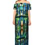 Layered Opal Printed Bardot Dress