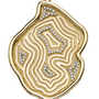 Geode Inspired Gold Agate Print XL Pendant