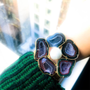 Geode and Baroque Pearl Camellia Cuff